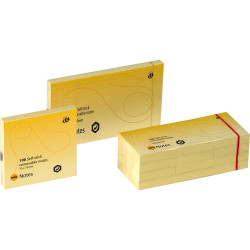 Marbig Repositionable Notes 75mmx125mm 100 Sheets per pad Yellow Pack Of 12