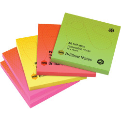 Marbig Repositionable Notes 75mmx75mm Brilliant per pad Assorted Pack Of 5