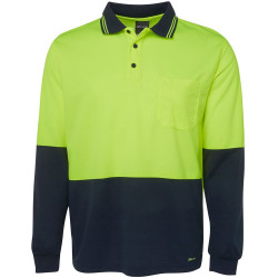Zions Two Tone Safety Polo Shirt Long Sleeve Fluoro Yellow